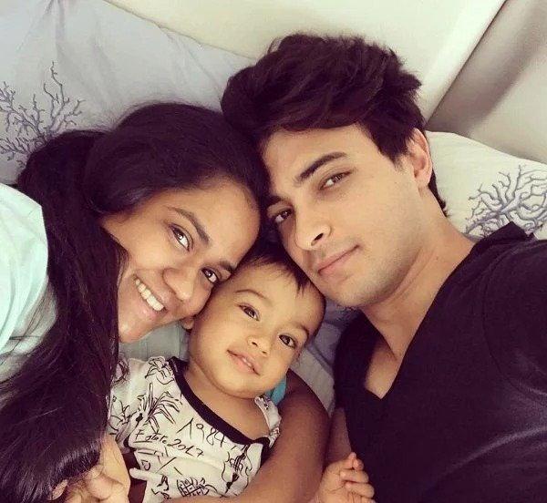 Ayush Sharma with his wife and son